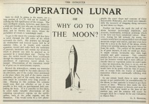 Article titled, 'Operation Lunar, or, Why go to the Moon?' from The Gongster, 31st October 1947, p.7