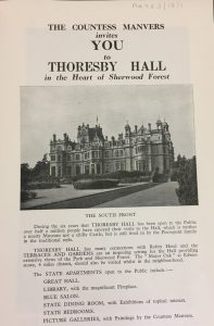 Printed leaflet advertising visits to Thoresby Hall, c.1963