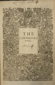 Title page of The works of our ancient and learned English poet, Geoffrey Chaucer, showing an elaborate and intertwined image of  vines and the aristocracy.