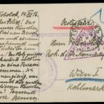 Reverse of the postcard with text written in black ink in German on the left and the postmarks and address on the right.