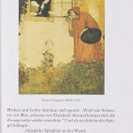 Page from a book showing Snow White leaning out of a window towards an old crone dressed in red, eating an apple and holding a basket. German text underneath the image.
