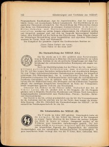 Page from 'Reichskunde für junge Deutsche' (1943) describing the SA and SS, the Nazi paramilitary branches.