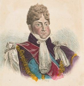 Watercoloured engraving of George IV from the shoulders up