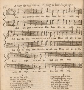 Musical notation and lyrics to God Save The King, printed in the Gentlemen's Magazine