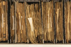 Close up of lever arch files filled with yellowing newspaper cuttings, some of which are sticking out.