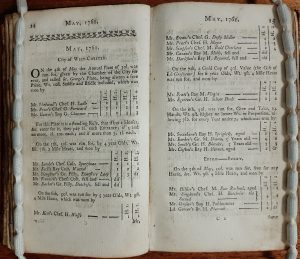 Page from An historical list of horse-matches run; and of plates and prizes run for in Great-Britain and Ireland, in the year 1761 / by Reginald Heber. Vol. XI. (1762) Special Collection GV1018.5 HEB