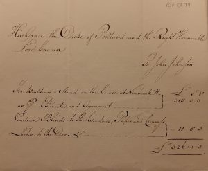 Handwritten bill asking for payment of £326.5.3 for the building of a stand at Newmarket.