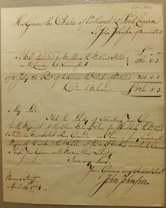 Letter from the project oversee-er asking payment from the Duke of Portland