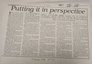 """""""Putting it in Perspective"""" article by MEP Ken Coates, 1992"""