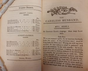 Printed pages showing the dramatis personae for the Drury Lane and Covent Garden theatre performances, and first page of The Careless Husband play