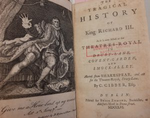 Engraving of an agitated Richard III from Act 5, and the title page of the play