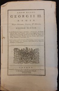 Front page of the printed Act showing the monarch's cost of arms
