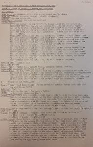 Typed sheet of paper of descriptions of sites and their ecological value; 1969-1970