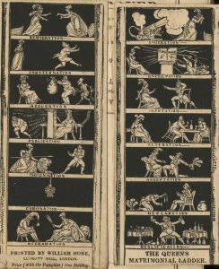The Queen's Matrimonial Ladder, a satire on the royal marriage showing the steps from beginnign to end