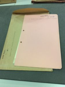 An example of a file relating to Dog Island, with its original envelope.