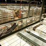 A bird's-eye view of part of the Manuscripts and Special Collections store.