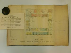 Hand drawn plan coloured with watercolour ink showing the second floor of the Trent Building, University of Nottingham
