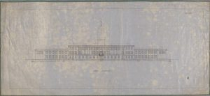 North elevation for an architectural plan [uncompleted] for the front of the University of Nottingham's Trent Building - the clock tower has not been drawn in; black ink on pale blue background (some blotching of waxed paper has occurred) with green fabric border.