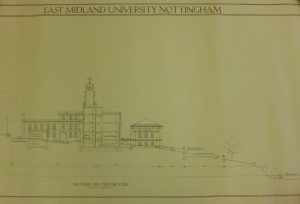 Sectional elevation of what is titled the East Midlands University building through the centre line, showing the Trent building, hillside and lake.
