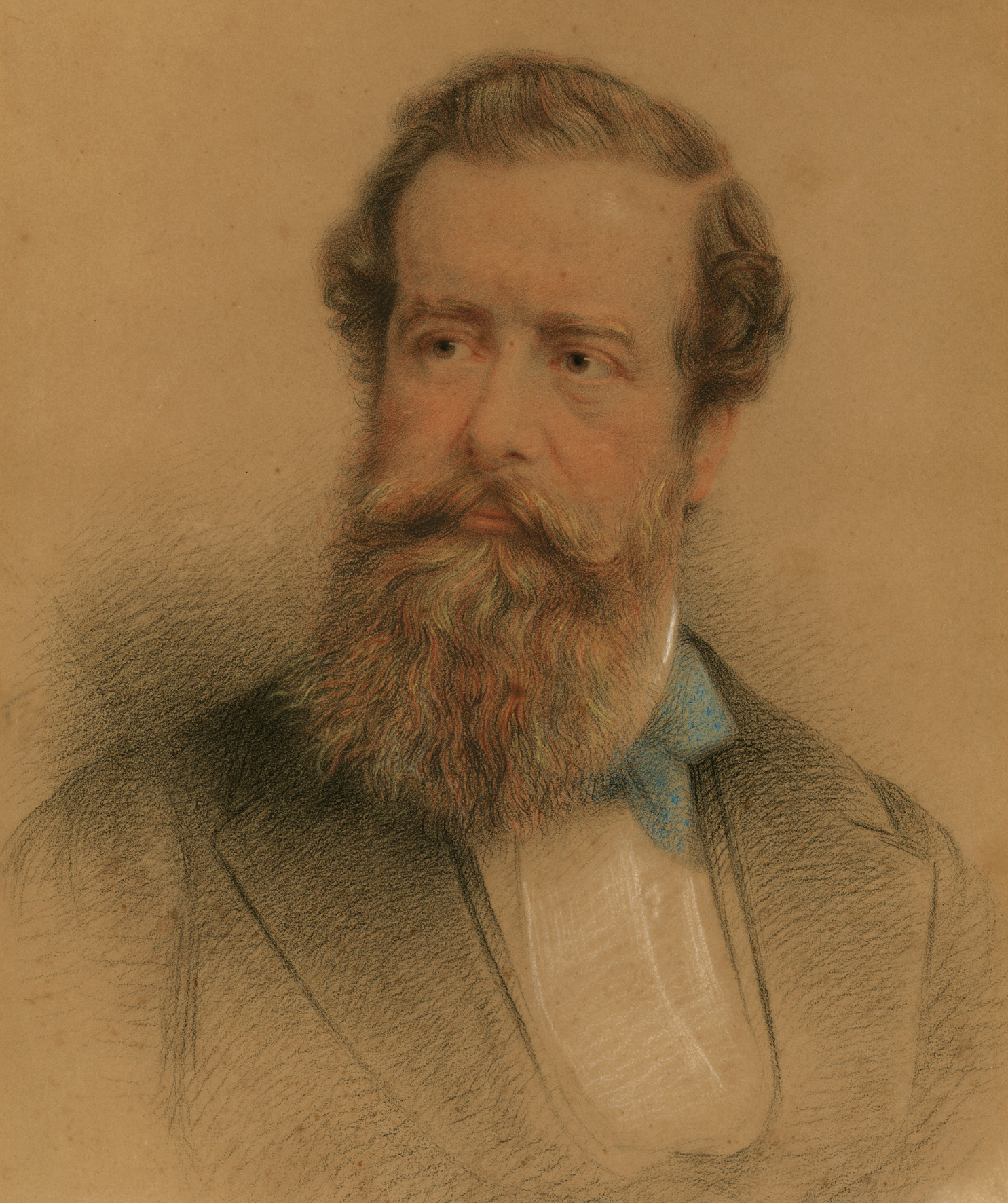 Portrait in crayon (colour) of Henry P.F. Pelham-Clinton, 5th Duke of Newcastle under Lyne c.1850s. The head and shoulders pastel portrait shows the 5th Duke wearing a dark suit, white shirt and blue neck tie, with a full beard and moustache.