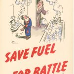 Save Fuel for Battle: The husband who wasted the hot water. Depicts a man running a very full hot bath and shaving at a sink with the taps running, watched angrily by his wife.