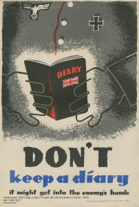 Image of shadowy hands holding a black diary. Don't keep a diary, it might get into the enemy's hands.