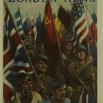 Full colour front page showing a drawing of representatives of each military branch marching towards the viewer, holding the flags of the Allies.