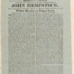 Printed page about the crimes and execution of John Hempstock, with an engraving of the gallows atthe top of the page.