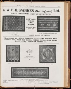 Printed full page advert for A & F H Parkes with photos of lace designs they manufactured.