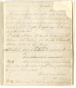 Handwritten page, torn around the edges and later conserved, listing names of members and rules of the Society
