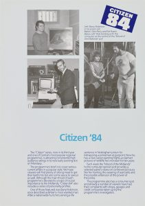 Photos of the film and text about Citizen 84, a popular local news and consumer rights style programme