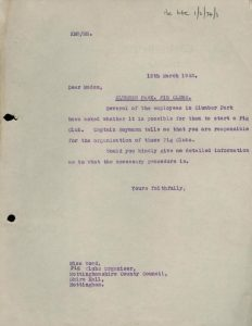 Two typed letters, one briefly asking permission to set up the pig club, and the second giving permission and outlining the legal requirements of such a club