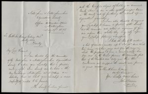 Handwritten letter to the Viscount with a printed alphabetised list of about 100 men in the East Midlands who are members