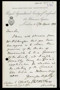 Handwritten letter on Royal Agricultural Society headed paper thanking the Duke for his support.
