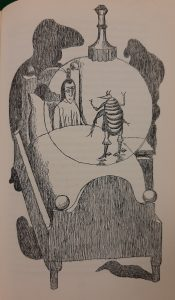 Line drawing of an anthropomorphised flea standing on a bed talking to the man under the covers