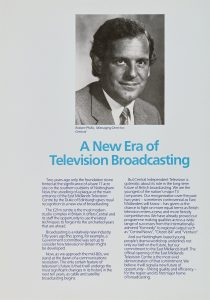 Black and white photo of Robert Phillis, Managing Director, above the introductory text for the brochure recapping the broadcaster's achievements