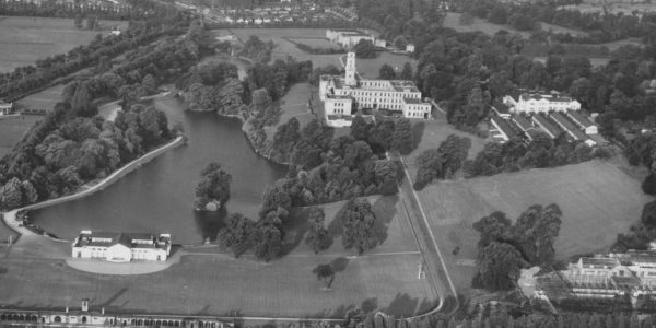 Aerial photo of the lake and Trent Building
