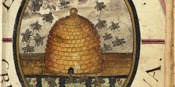 Front of the book showing a hand coloured hive surrounded by honey bees in the centre, with the title, date and Latin motto written in an oval around it