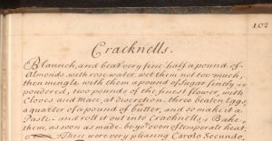 Handwritten recipe in one long, run-on paragraph as was common of the time, written in a very clear and neat style.
