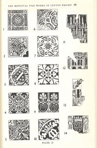 Selection of tile patterns as excavated from sites at Lenton and Keighton