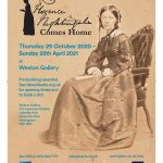 Poster advertising the exhibition. The main image is a photo of Nightingale seated holding a book.