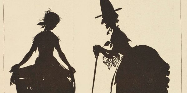 Silhouette of Cinderella and her fairy godmother, who is portrayed looking more like a witch than a fairy