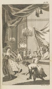 Illustration of Cinderella in her ballgown fleeing from the ballgown as the prince picks up her lost slipper