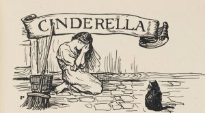 Engraving of a weeping Cinderella wearing rags, kneeling on a stone floor next to her bucket and broom, beneath the story's title banner.