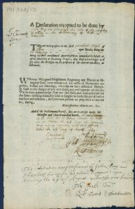 Printed penance with the details of the offence, offenders and dates handwritten
