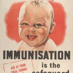 Poster depicting a smiling baby and the slogan 'Diphtheria is Deadly, Immunisation is the safeguard'