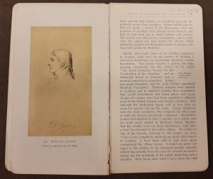 Engraving of the head and shoulders of Edward Jenner looking to the left, and a page of printed text about the short-lived Royal Jennerian Society