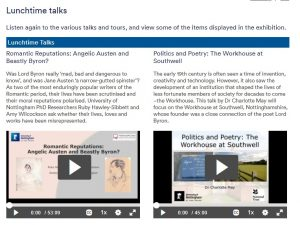 Screenshot of the Romanticism exhibition page showing two video talks