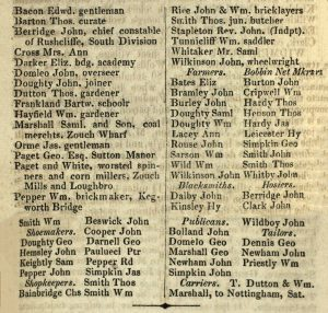 Printed list of names and occupations