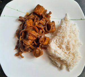 Curry and rice on a dinnerplate